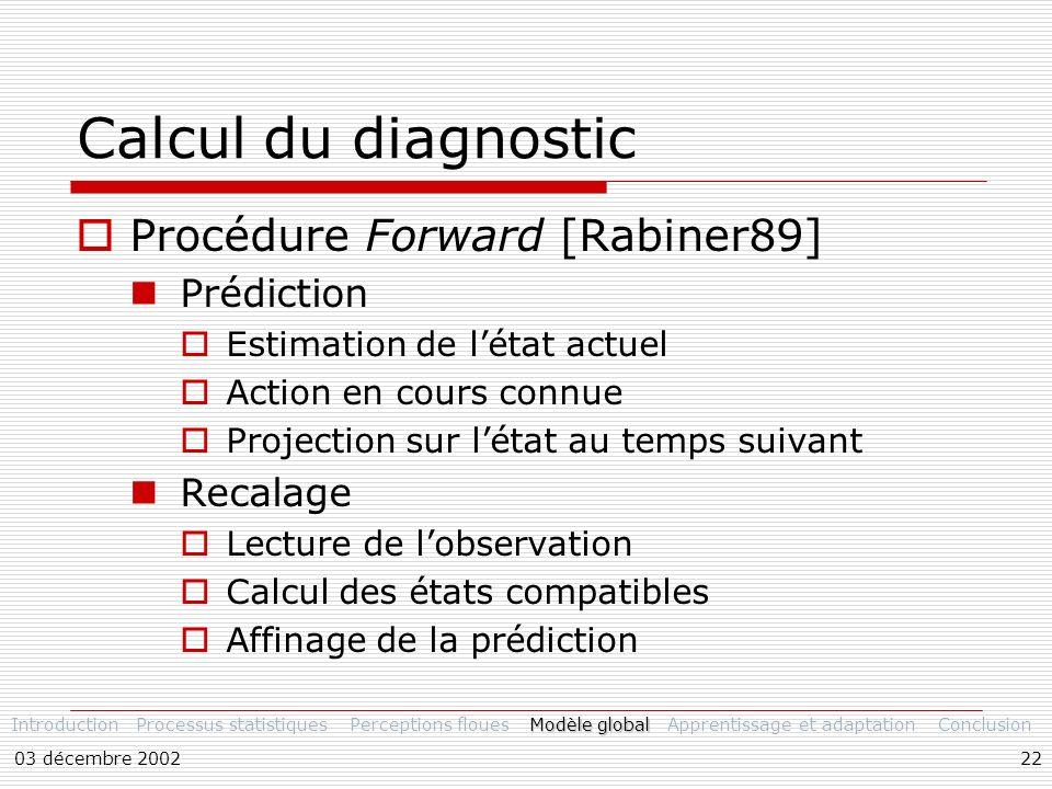 Calcul du diagnostic Procédure Forward [Rabiner89] Prédiction Recalage